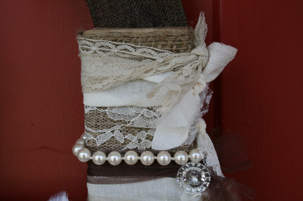 from pinterest to projects lace and ribbon trim detail of burlap wrapped letter h for front door decor mixed media piece with pearls and buttons attached
