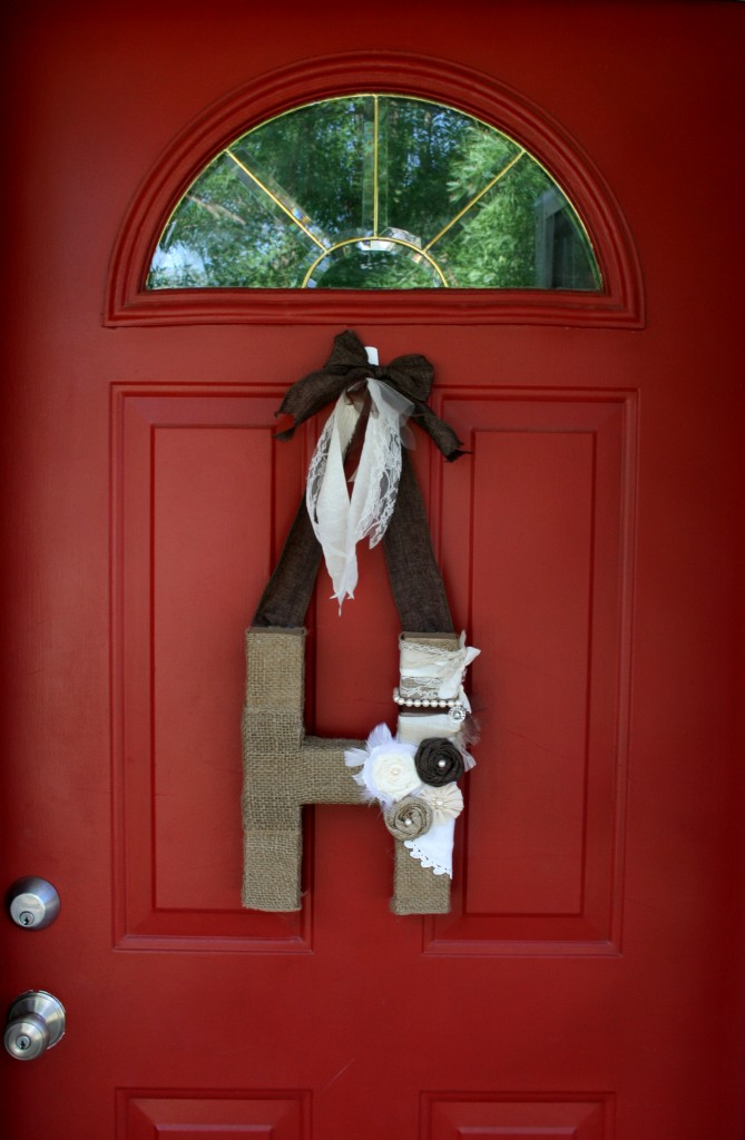 from pinterest to projects front door decor alpha art mixed media project using burlap ribbon and fabric flowers
