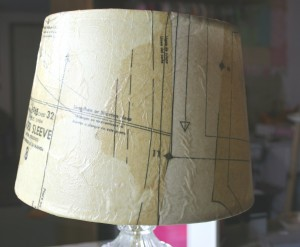 decopauged DIY lamp shade using sewing patterns for the makeover
