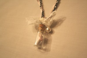 message in a bottle necklace using tim holtz supplies lace ribbon and more handmade