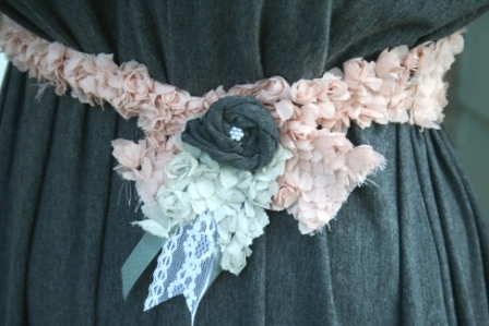 fabric custom belt with fabric flower lace and trims for handmade maxi dress pinned from pinterest #fromp2p