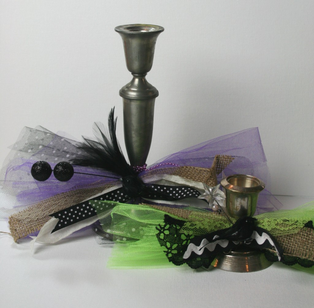 upcycling recycling halloween candle holders decor with bows and black crows from craft stores using tulle ribbon hot glue and more