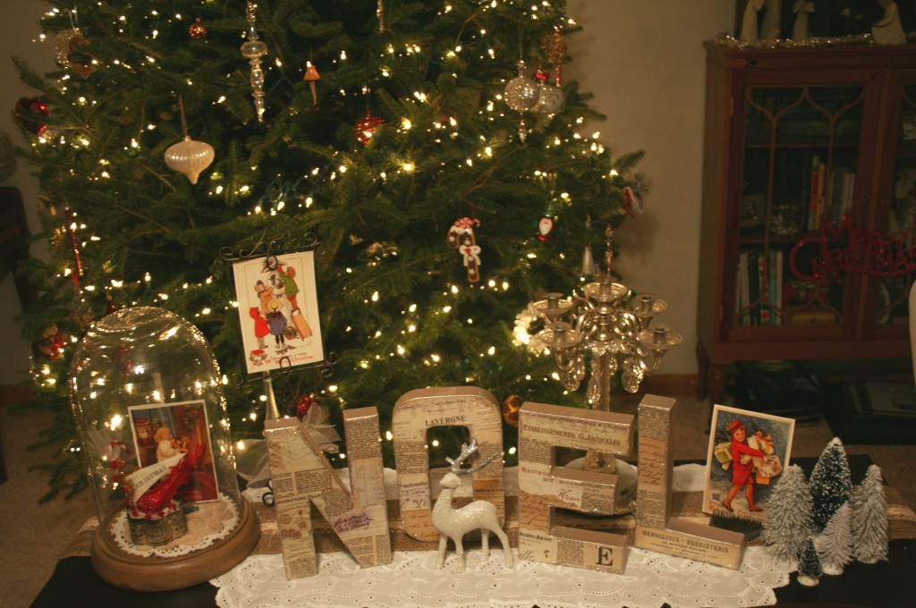 paper mache chipboard noel letters made with decopauge, glitter, vintage french papers, upcycled, mixed media holiday christmas decor for the home