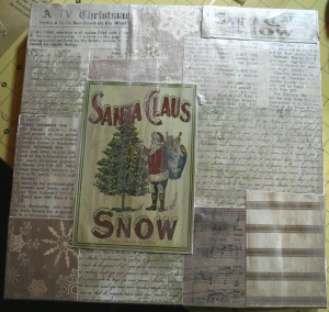 santa, christmas, crafting, collage, decopauge, glitter, paint, glue, vintage, tulle, ribbon, snowflakes, scrapbooking, crafting, papercrafting, thickers, paint, snow, santa snow, fake snow, holidays, handmade