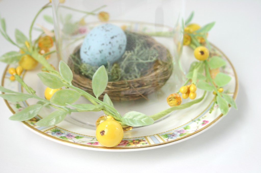 easter decor robins egg nest with vintage plate moss and cloche dome mellisa frances nest