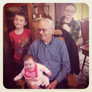 grandpa with kids
