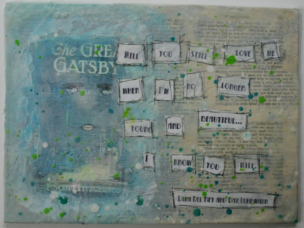 mixed madia canvas project inspired by baz luhrmann the great gatsby using wax, gesso, paint, sharpie marker, image transfer, and melted crayons