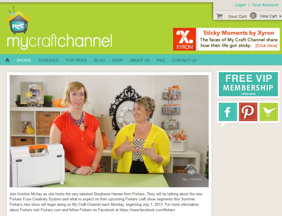 my craft channel with kristine mckay highlighting stephenie hamen and the fiskars fuse creativity system