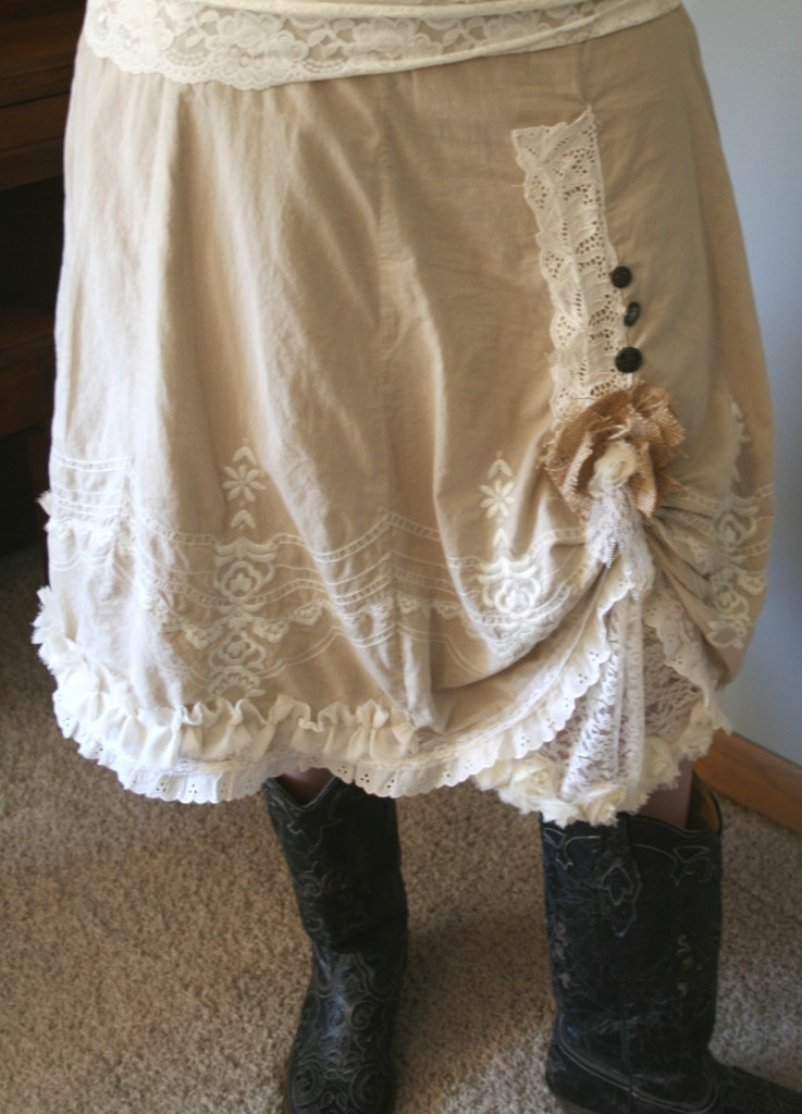 upcycled skirt into frilly ruffly girly cowboy farm girl cute skirt using lace, vintage lace, trims, burlap, and flowers