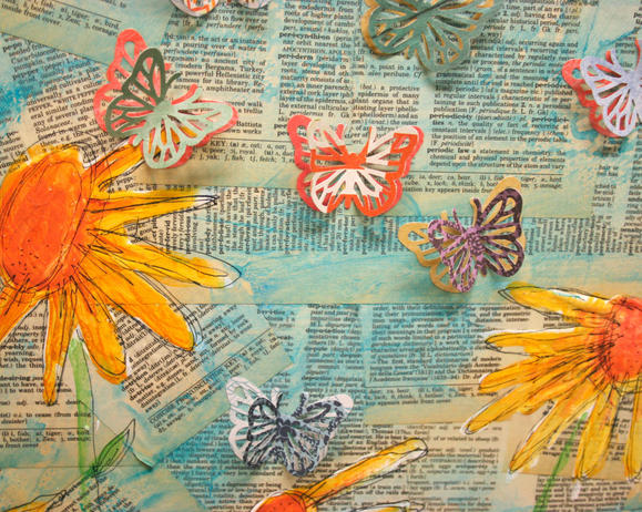 mixed media art project using paint, gesso, Ranger ink Tim Holtz Distress paints, fiskars punches, glue, and Collage Pauge from iLovetoCreate