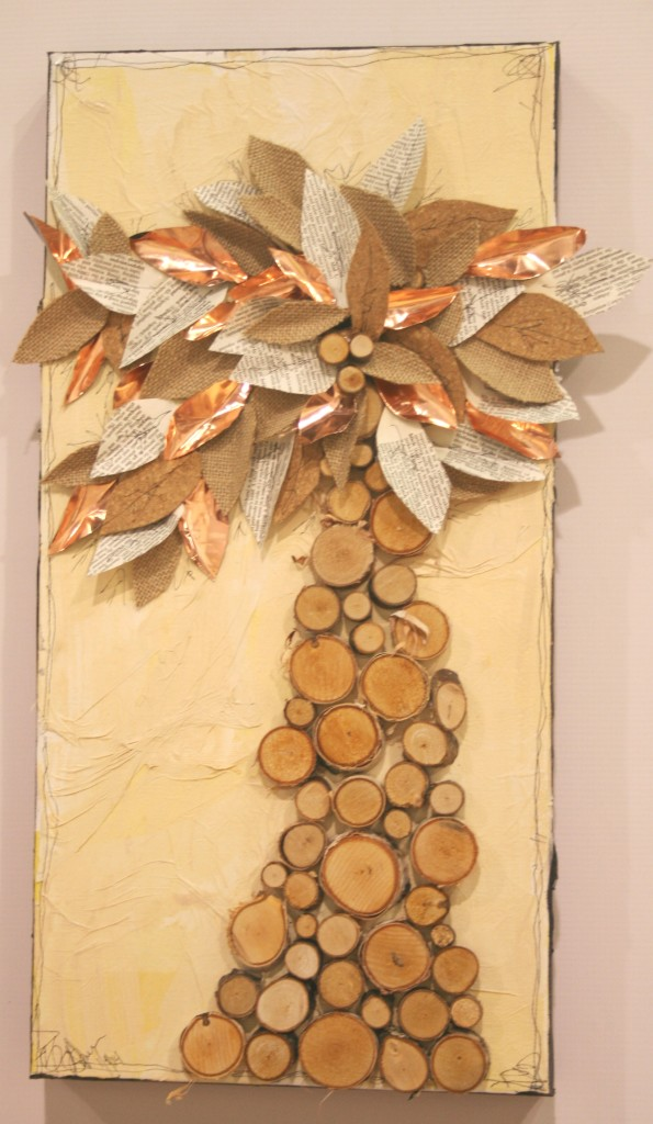 mixed media canvas using wood, pruners, loppers, cork, decopauge, collage work, tissue paper, paint, burlap, burlap paper, old book pages, copper flashing, foil, sharpie pen, canvas