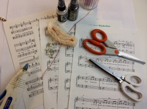 supplies for music sheet garland diy