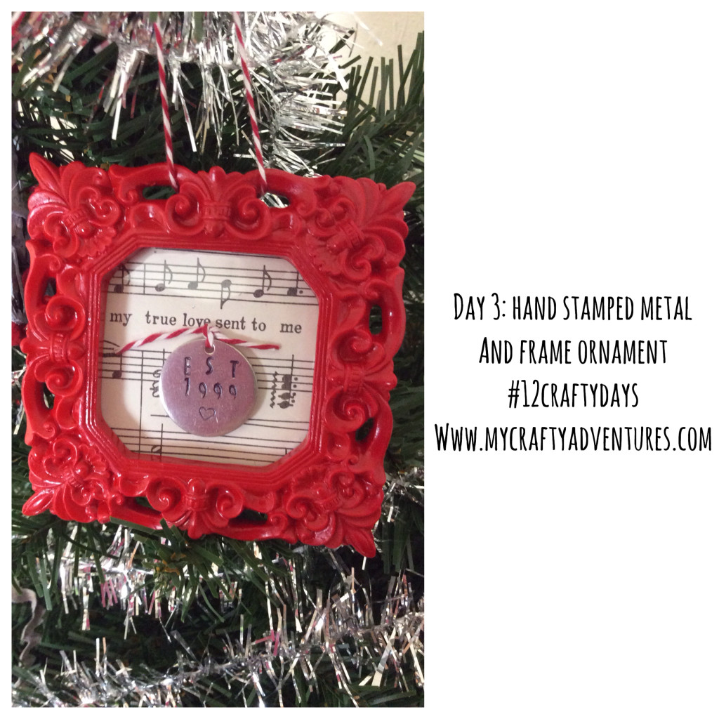 Hand stamped metal and frame ornament main