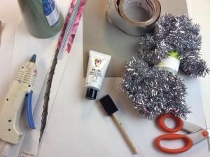 tinsel garland tree diy supplies