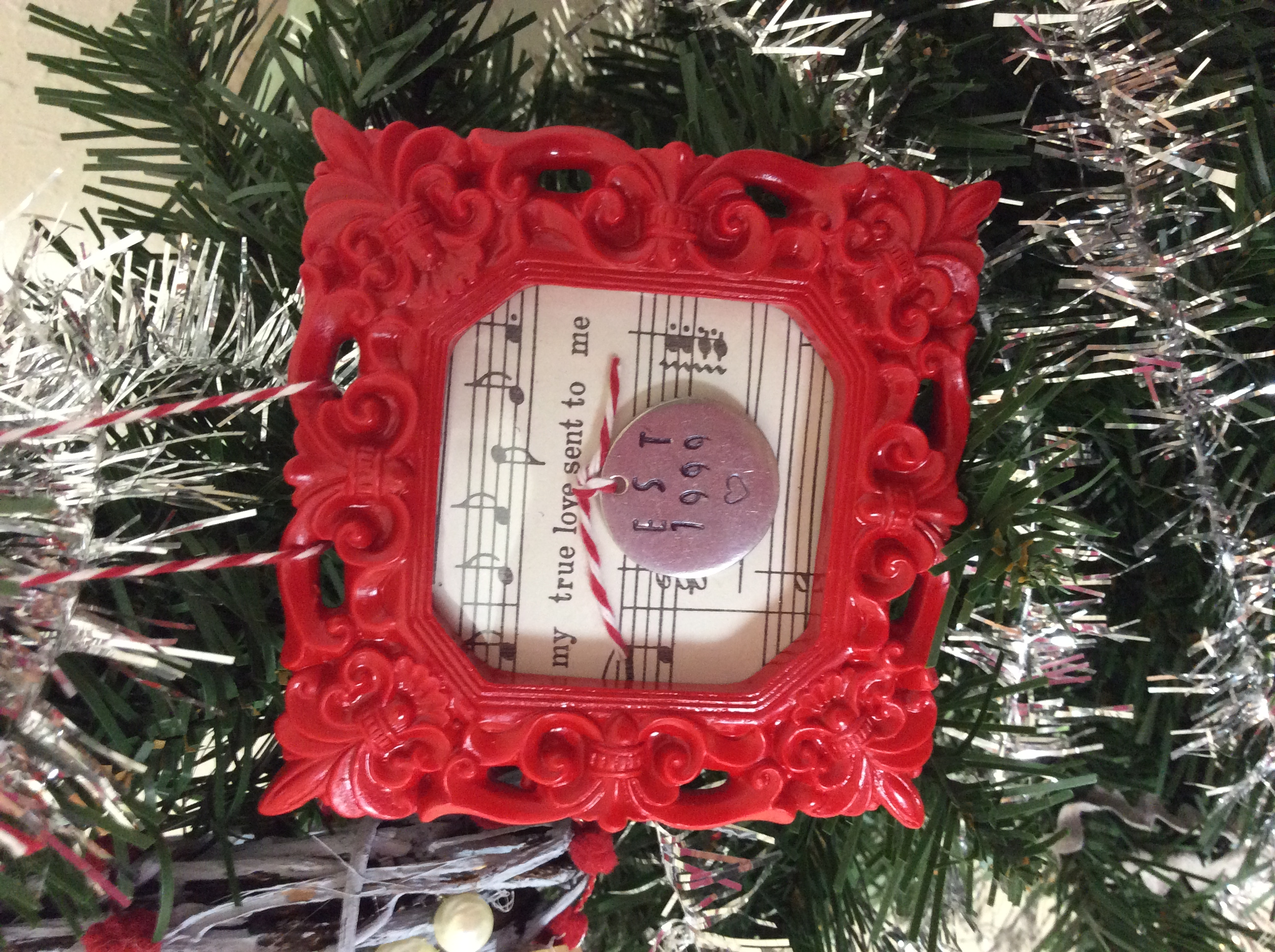Day hand stamped metal and frame ornament my crafty