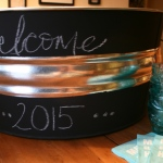 steel party drink tub with chalkboard main