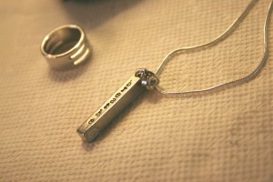 breathe impressart pewter pendant charm on chain