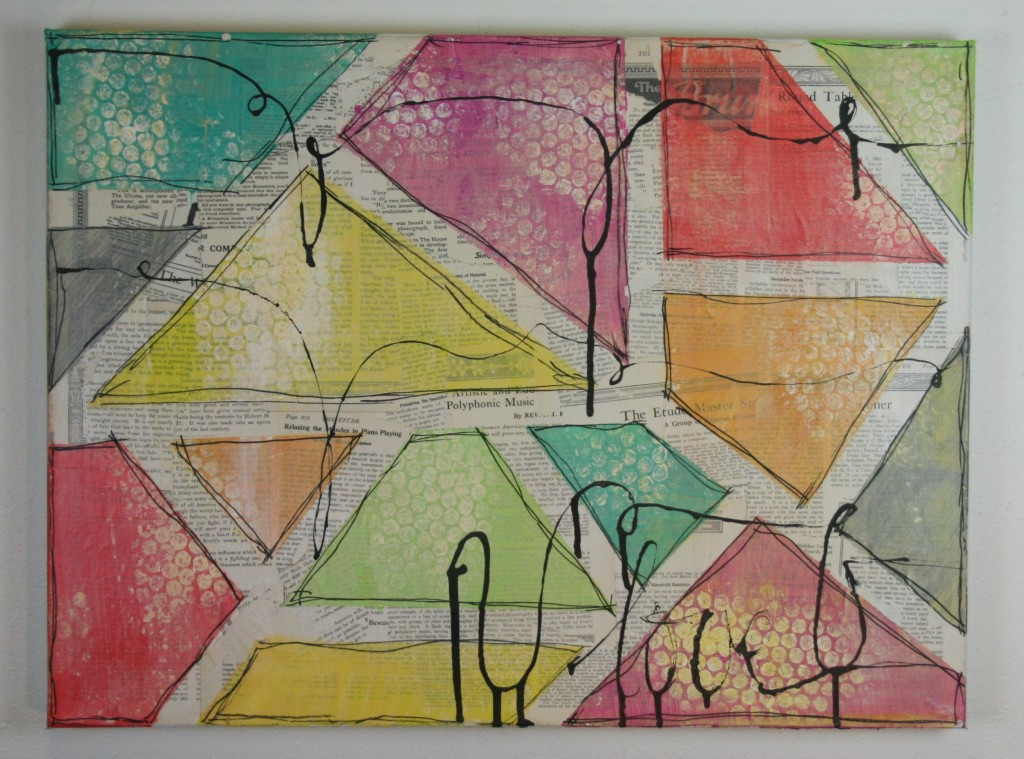 mixed media, paint, doodle, vintage papers, ink
