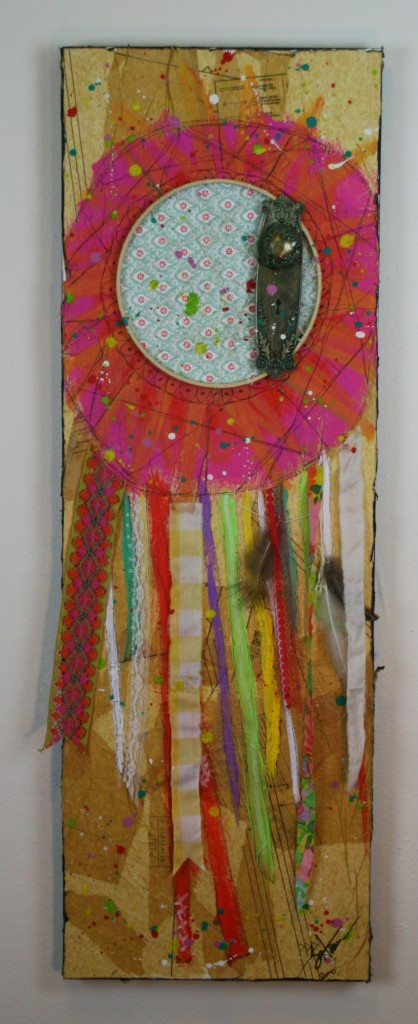 mixed media, dream catcher,paint, ribbon, trims, fabric, feathers