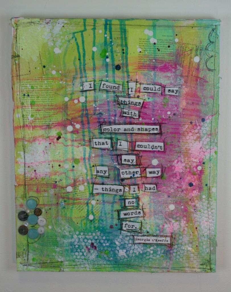 georgia o'keeffe, stephenie hamen, mixed media, art, doodle, artist